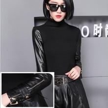 Fall/winter sheepskin sleeve base shirt black unlined upper garment inside knit long sleeve knit sweater with fur
