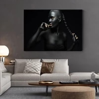 Dore mode noir africain femme HD peinture a lhuile sur toile affiches et impressions scandinave pour salon decoration de la maison Unf