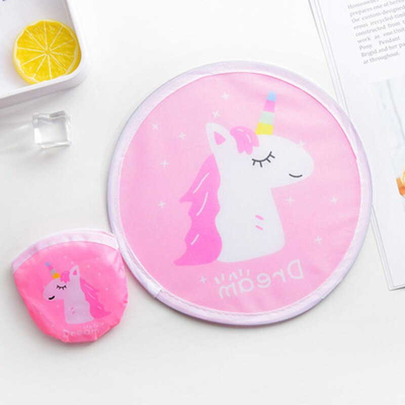 Mini disco redondo de dibujos animados ventilador portátil bolsillo plegable billetera Flyer Kawaii unicornio/flamenco/Cisne/cerdo ventilador de decoración de mano