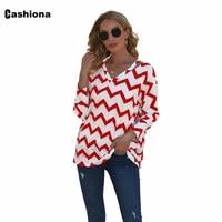 cashiona plus size womens top streetwear long sleeve v neck t shirt fashion wave print tees shirt autumn casual pullovers femme