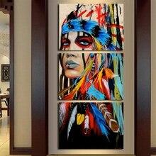 3 패널 인도 여자와 깃털 캔버스 아트 유화 캔버스 포스터 및 인쇄 거실 벽 장식