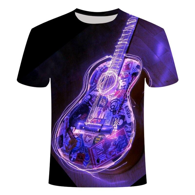 Violín 3D todo estampado camisetas de manga corta instrumentos musicales Camisas Casual parte de arriba de estilo Hip Hop Tee Unisex