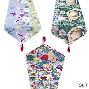 Easter Rabbit Egg Printed Linen Table Runner Tablecloth Placemat Home Decoration