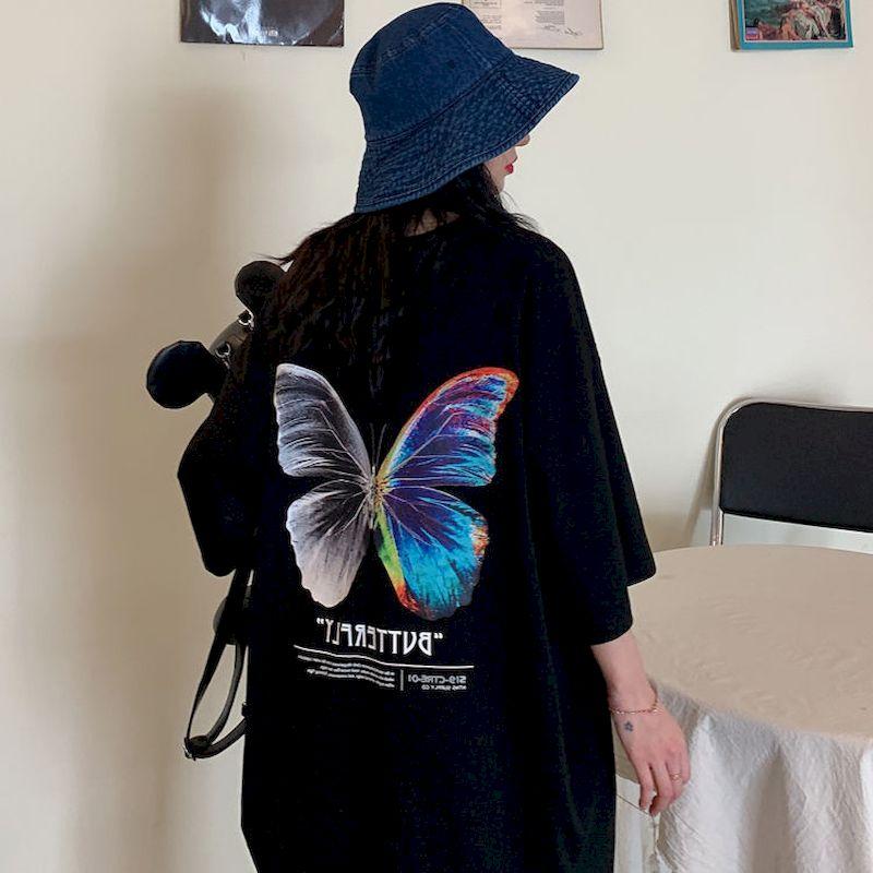 NiceMix Hip Hop Oversize camiseta hombres 2020 Streetwear Harajuku Color camiseta con mariposa de manga corta de algodón suelta HipHop camiseta Pl