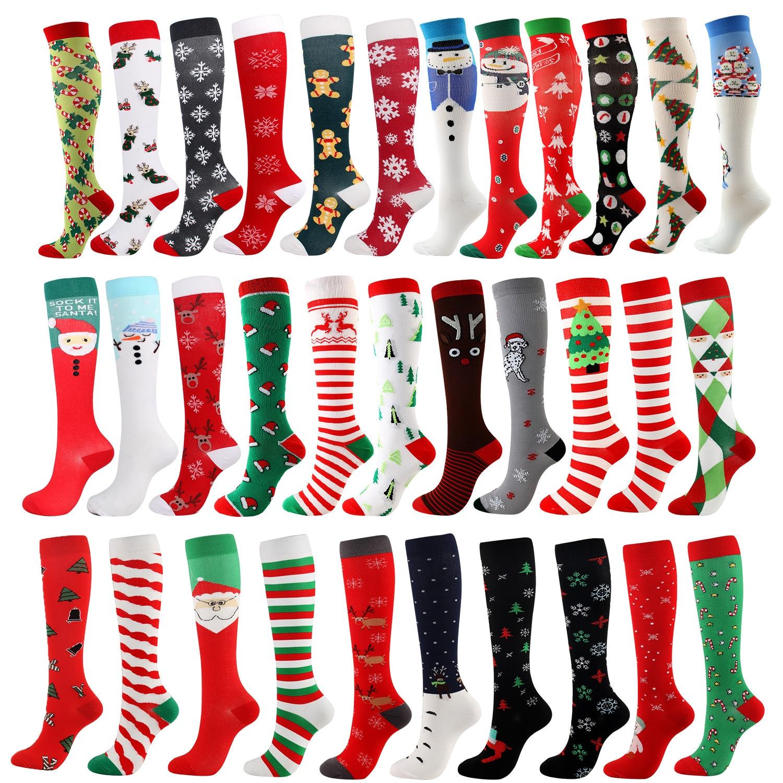 Calcetines altos de compresión de Navidad para hombre y mujer, medias altas...
