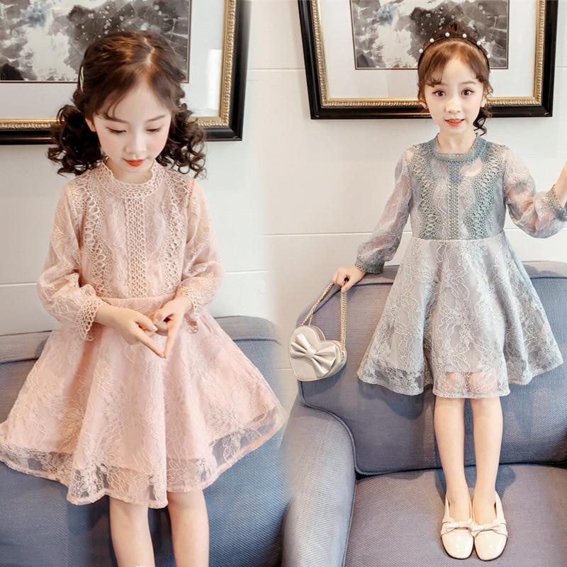 ¡Novedad! Vestido para niñas pequeñas, ropa de primavera y otoño, bonita falda con cintura para niños, vestido de encaje de princesa de estilo de niña.