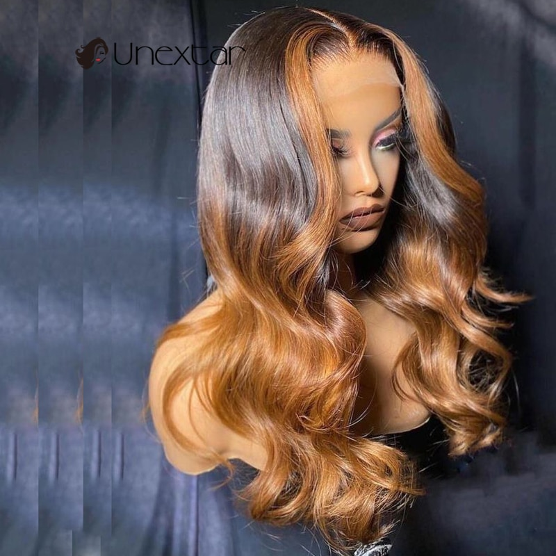 Unextar Honey color Ombre Color Remy Human Hair Wigs For Women13x4 Preplucked Loose Wave Lace  Wigs With Baby Hair