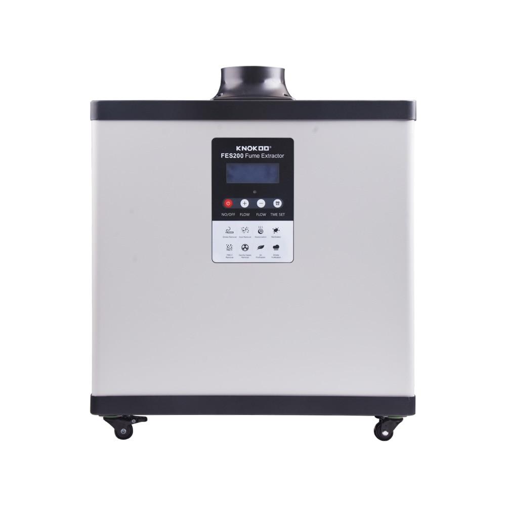 Knokoo 200 w display digital extrator de fumaça de solda fes200 laser purificar a máquina com roda