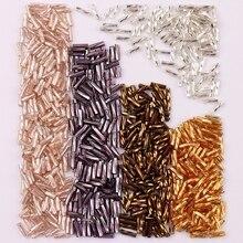 300 pçs tamanho 2x6mm bugles de torção solto tubo espaçador semente de vidro leptospira grânulos para fazer jóias diy vestuário costurar acessórios
