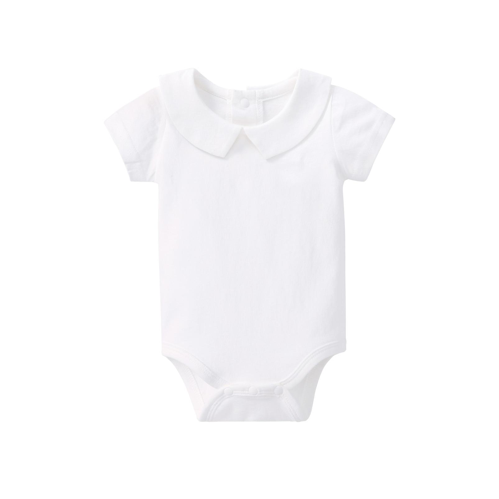 Pureborn Newborn Baby Girl Bodysuit Organic Cotton Baby Onesies Peter-pan Collar Solid Basic Short Sleeve Summer Clothes