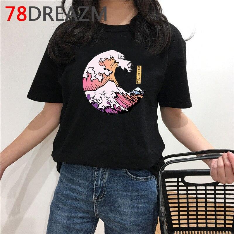 La Gran Ola camiseta mujer Kawaii verano Top estilo japonés Camiseta Vaporwave gráfico camisetas Harajuku Ulzzang camiseta femenina