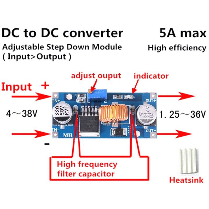 ¡Nuevo! Módulo de aumento de suministro de energía constante módulo LED Boost 4-38V DC-DC Módulo de aumento del convertidor de potencia-40 ~ + 85 grados