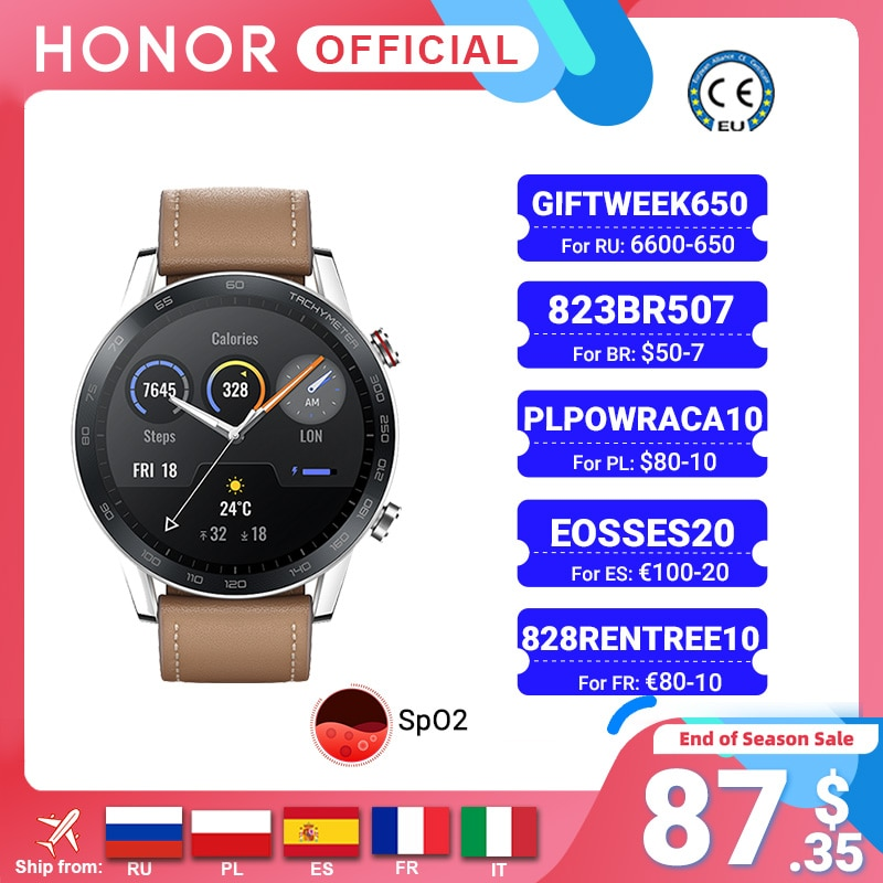 Get Global Version Honor Magic Watch 2 Smart Watch Bluetooth5.1 Smartwatch Blood Oxygen Waterproof 14 Days Heart Rat For Android iOS