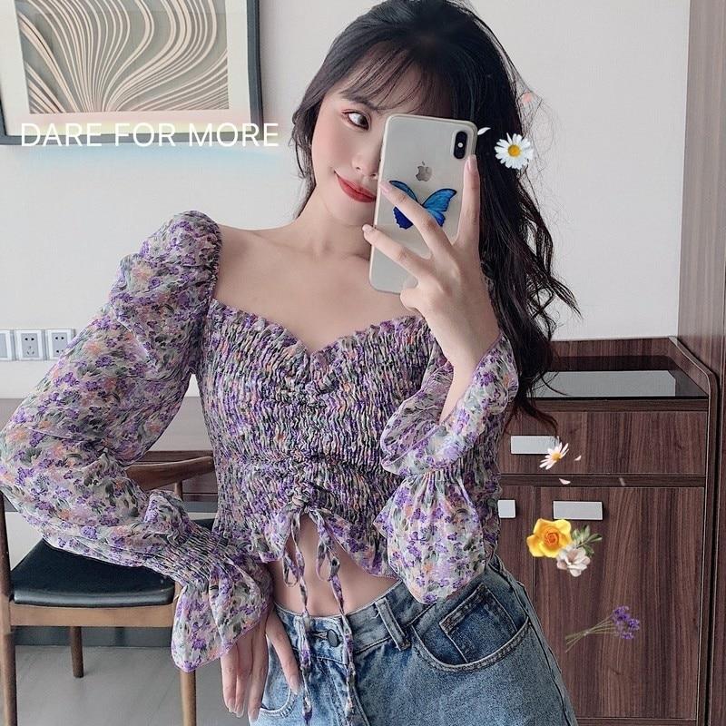 Fresh Purple Floral Chiffon Shirt For Women Spring Trendy Ins Ethereal Design Niche Drawstring High