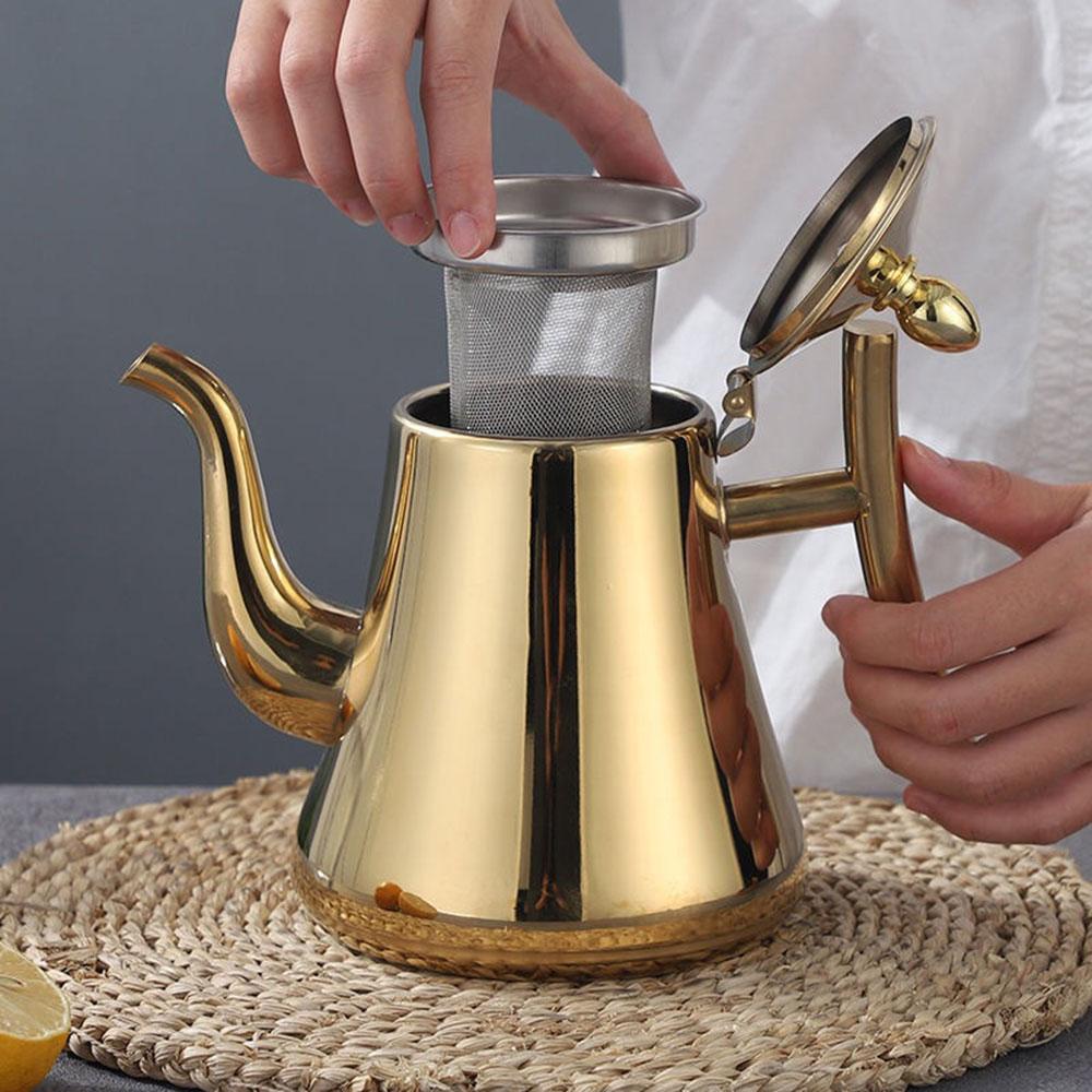 1l/1.5l ouro bule com inuser aço inoxidável chaleira de água bule chá polonês moda durável café pote água fria casa ferramenta chá