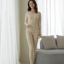 Little Love Pajamas for Women Pure Cotton Thermal Underwear Women's Skin Color Basic Set Autumn Clot