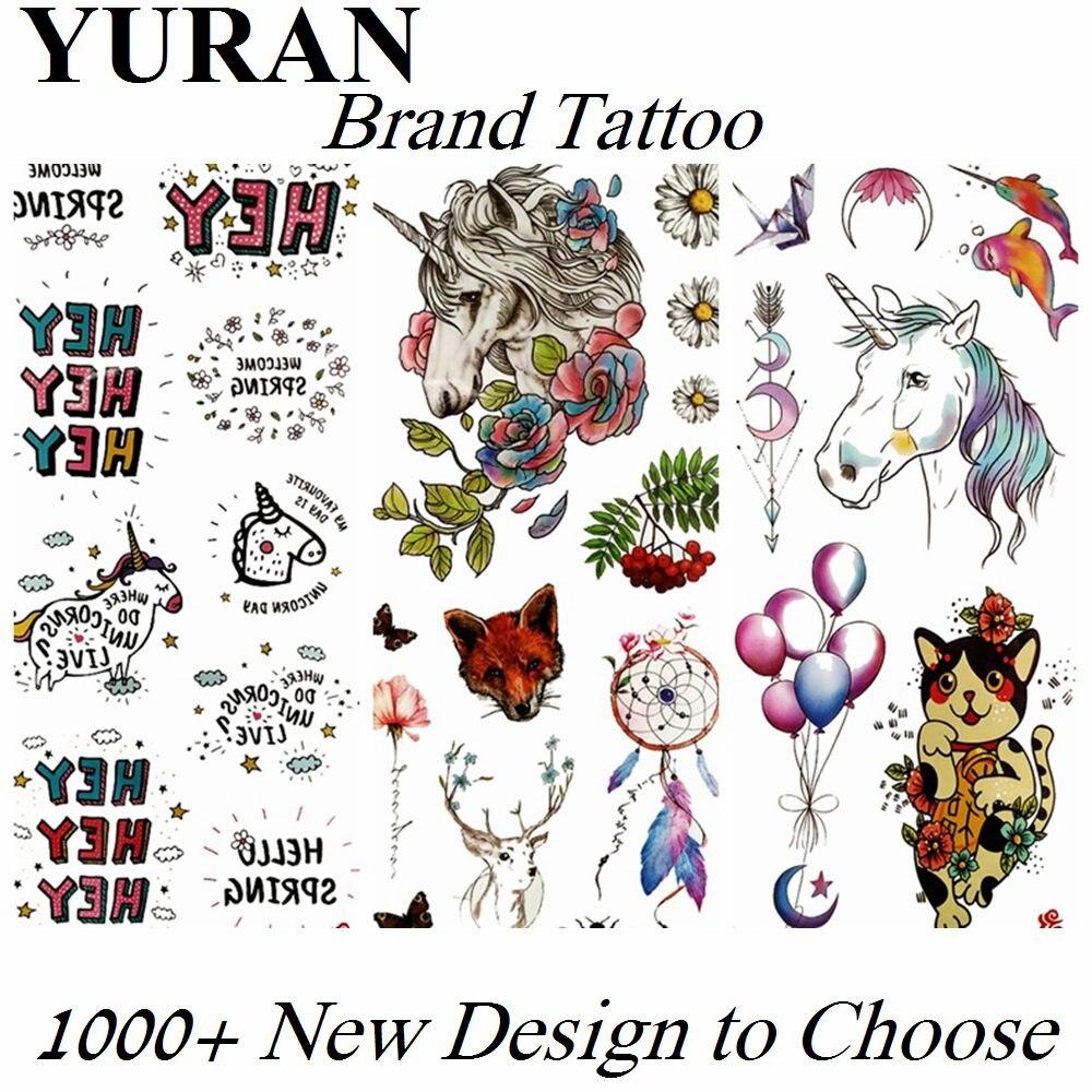 Pequeño lindo unicornio falso tatuajes temporales calcomanías para niños atrapasueños impermeable tatuaje papel cuerpo arte tatuaje antebrazo