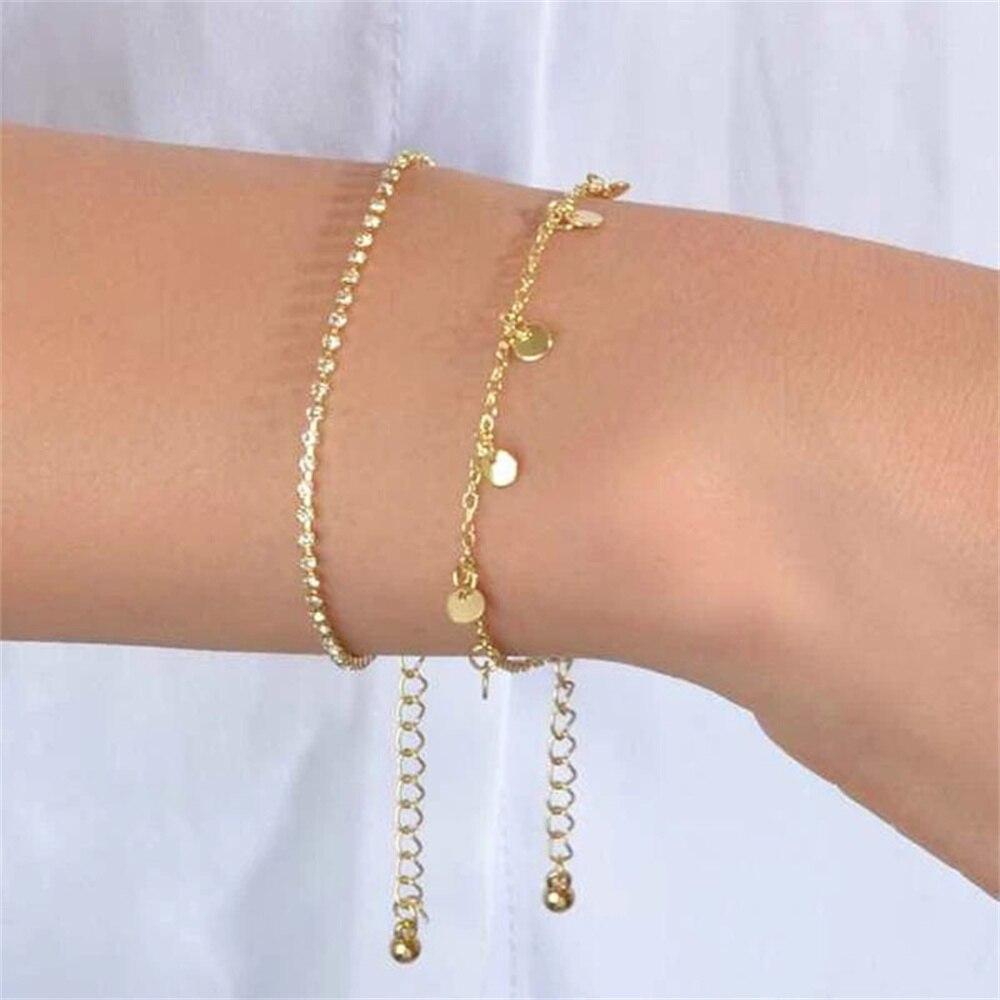 Женский винтажный Модный Простой Круглый браслет в стиле бохо с блестками и кристаллами, 2021 Милая Бриллиантовая бижутерия, подарок для девушки
