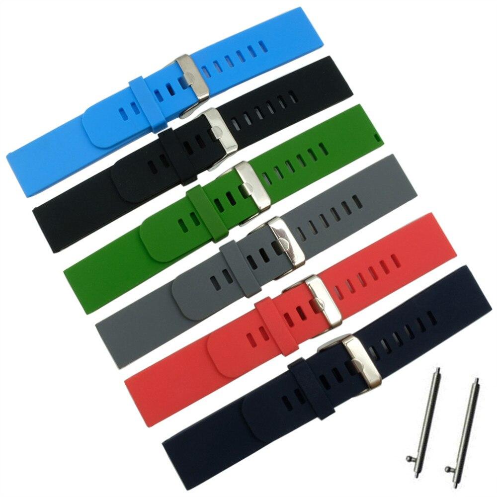 Instalación rápida correa de reloj 18mm/20mm/22mm para Motorola Moto 360 2 Gen 46mm Samsung Gear2 R380-R382 pulsera de goma de silicona