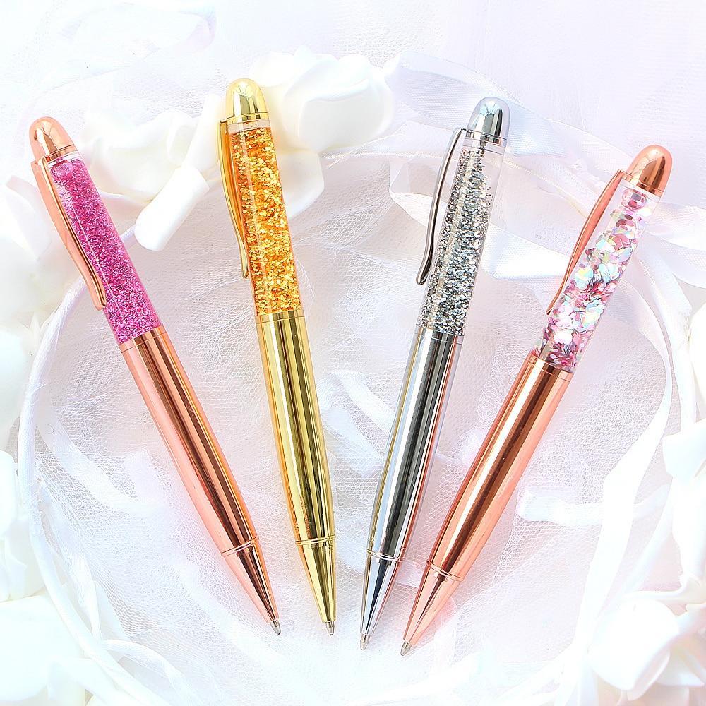 1 pçs esferográfica caneta areia movediça escrita assinatura de alta qualidade cristal diamante rosa ouro escritório papelaria presente metal caneta esferográfica