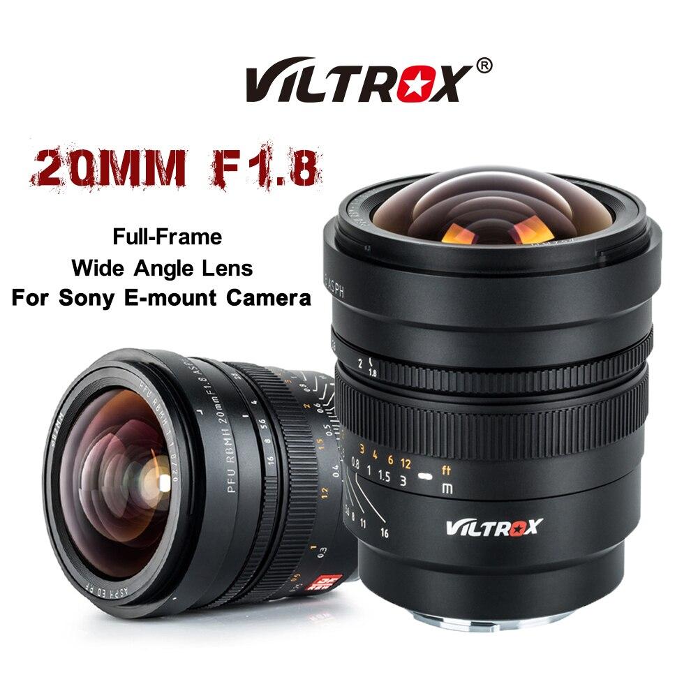 VILTROX 20 مللي متر f/1.8 زاوية واسعة-Prime ثابت التركيز ASPH كامل الإطار لسوني عدسة NEX E جبل A6500 A7S A7M3 A7RIV A7III عدسة الكاميرا