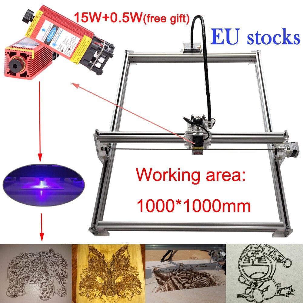 1010 mini cnc laser cutting machine +15W laser head TTL PWM control 1000*1000mm CNC engraving machine cnc laser carving machine