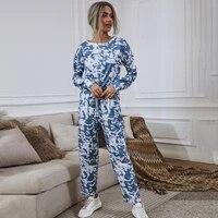 homewear tie dye long sleeve shirts loungewear two piece pajama sets drawstring sweatpants women baggy wide leg trousers suits
