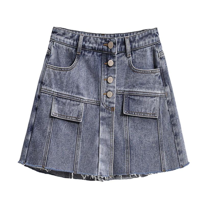EXCELLENT QUALITY Newest 2021Jeans skirt female fat sister fake two wide-leg loose shorts summer skirt pants fashion high-waiste