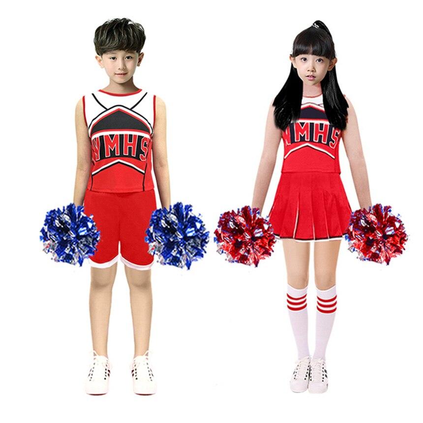 110-170cm sin mangas baloncesto juego de fútbol niños uniforme escolar niños niñas falda baile animadora disfraces