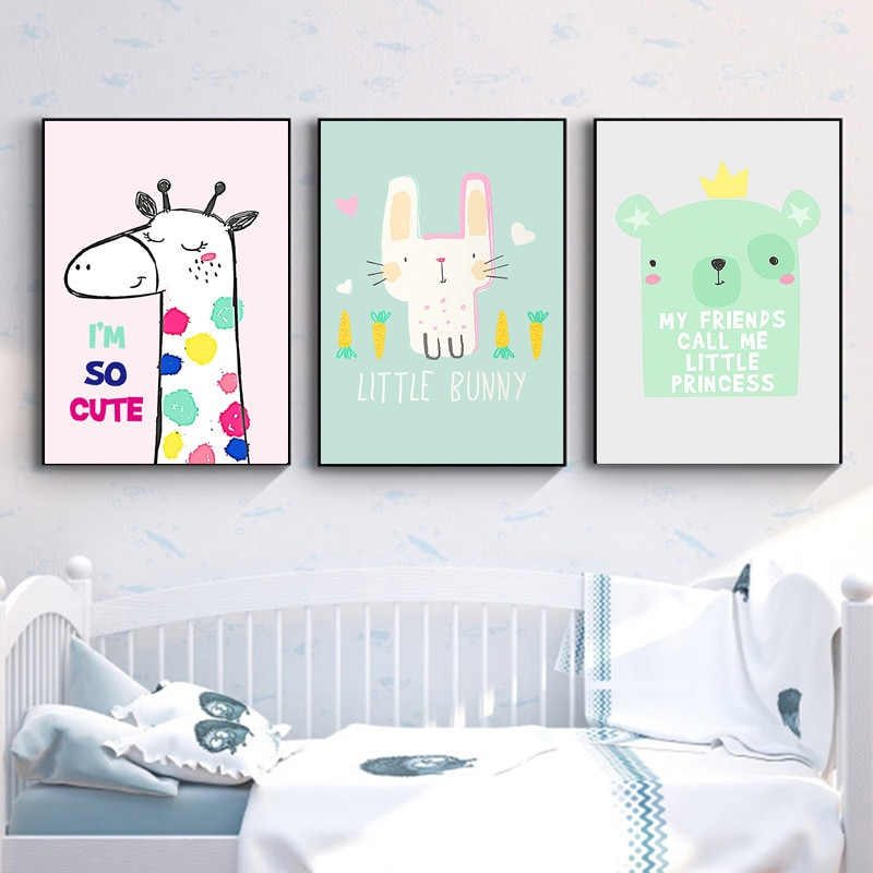 Customized Simple Cute Cartoon Nordic Style Wall Painting Children's Room Modern Home Decoration Frameless Canvas Printed Poster  - buy with discount