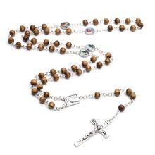 Religieux en bois Antique croix chapelet pendentif colliers jésus Saint benoît collier de perles jésus collier breloques chrétiennes