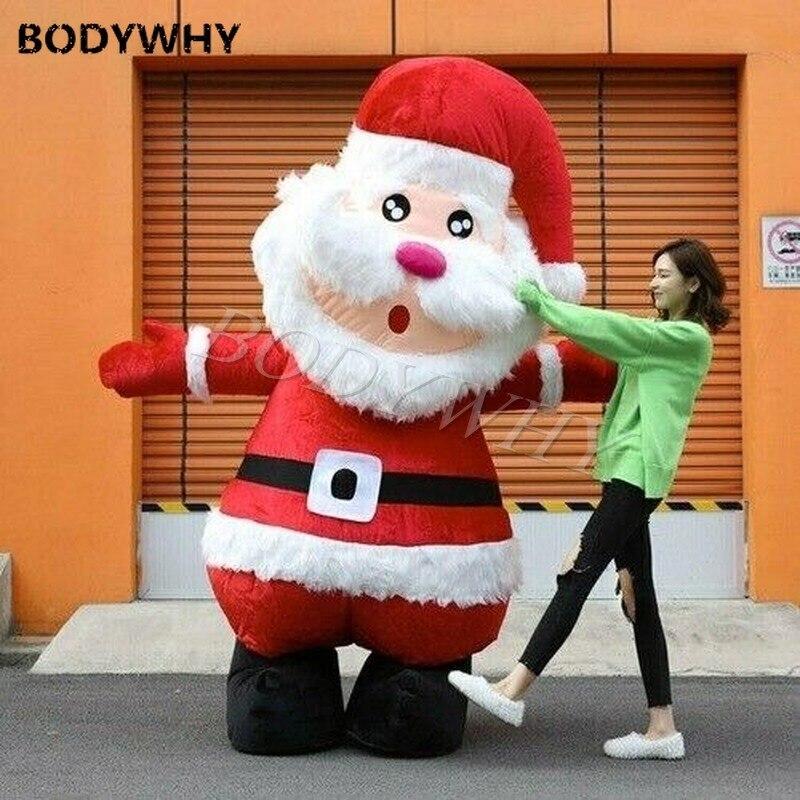 زي تميمة عيد الميلاد على شكل بابا نويل القابل للنفخ ، بطول 2.5 متر ، فستان تنكري ، إكسسوارات الكريسماس