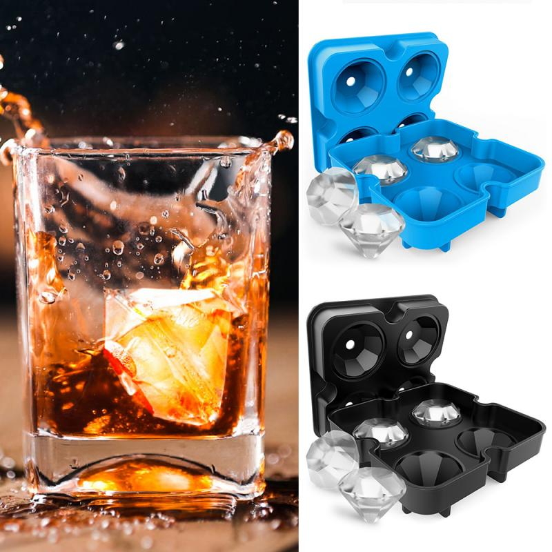 4 grades máquina de cubo de gelo forma diamante chocolate molde bandeja sorvete diy ferramenta uísque cocktail gelo cubo cozinha 3d silicone molde