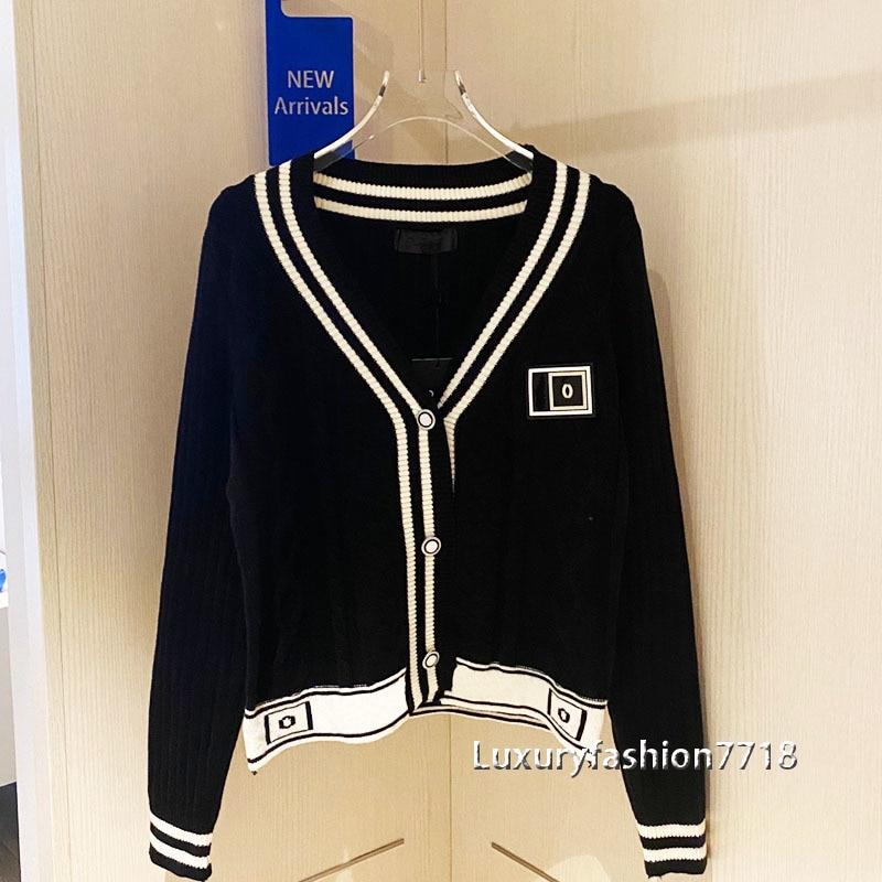 2021 New style fashion women high end clothing letter logo jacquard V-neck cardigans long sleeve short knit brand top cardigan enlarge