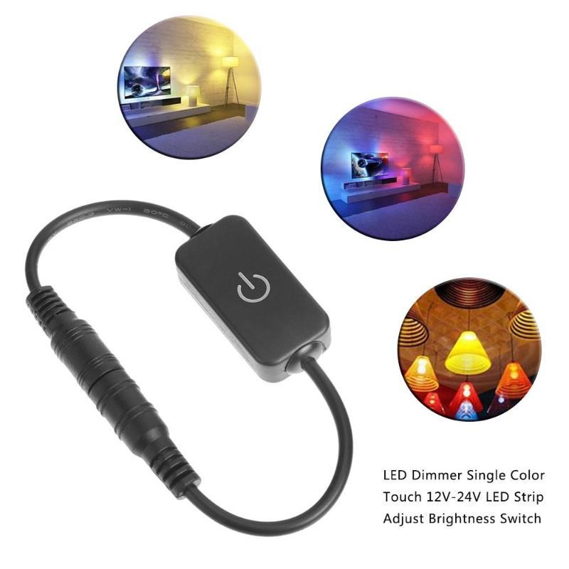 1 Uds. LED Dimmer solo Color táctil 12 V-24 V tira LED ajuste interruptor de brillo luminaria controlador en línea accesorios de luz de hogar