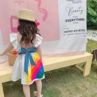 girls dress baby girls rainbow stripe backless princess dress summer vestidos 2 7 years white kids clothes little girls toddler
