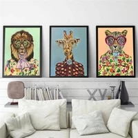 fashion art leopard giraffe lion animals face canvas paintings wall posters and prints animals art pictures for living room hom
