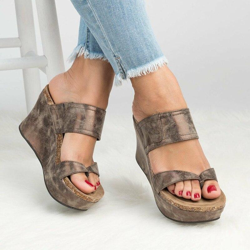 2020 novo salto alto feminino grande tamanho inclinado salto flip-flop sandálias femininas sapatos de luxo mulher designers sandálias