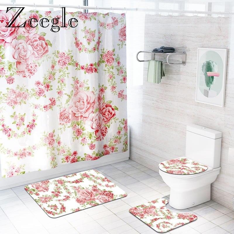 Zeegle, cortina de baño impresa, tapete de cubierta lavable para retrete, juego de alfombra para baño, cortina de ducha divertida para inodoro, tapete antideslizante para inodoro