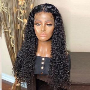 Natural Hairline Long Kinky Curly WIgs Jet Black Color For Black Women With Baby Hair Lace Front Wig Synthetic Daily Wear Wigs