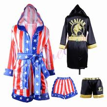 Rocky Balboa Apollo film boks flaga ameryki Cosplay kostiumy dzieci szlafrok szorty szata boks kostium zestaw strój treningowy