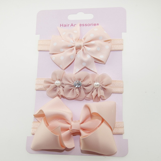 3Pcs Baby Elastic Flower Headband Boys Girls Bebe Bowknot Hairband Toddler Infants Hair Accessories Set Bows Turban Bands