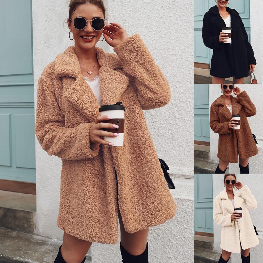 Faux Fur Coat Fleece Sweatshirts Cardigan 2019 Female Autumn Winter Coat Women Overcoat Plush Jacket Mujer Chaqueta Mujer