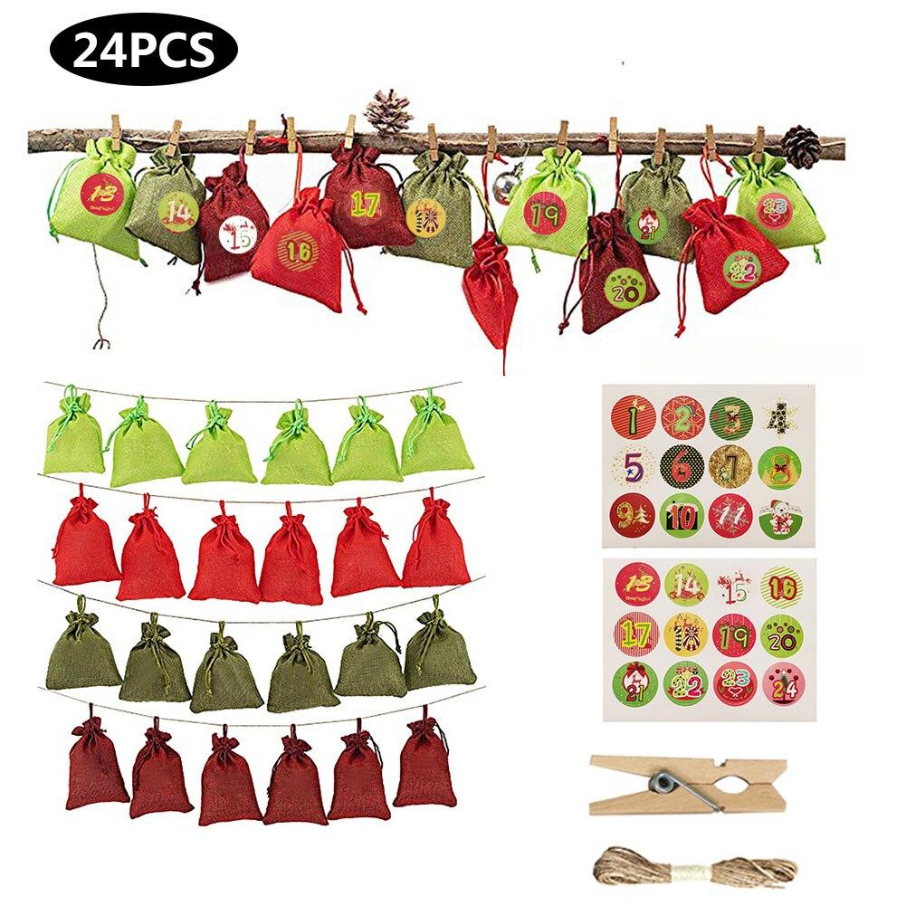 24 Uds. Calendario de Navidad cuenta atrás bolsa de Chocolate caramelo saco de lino bolsa de almacenamiento para regalo de niños