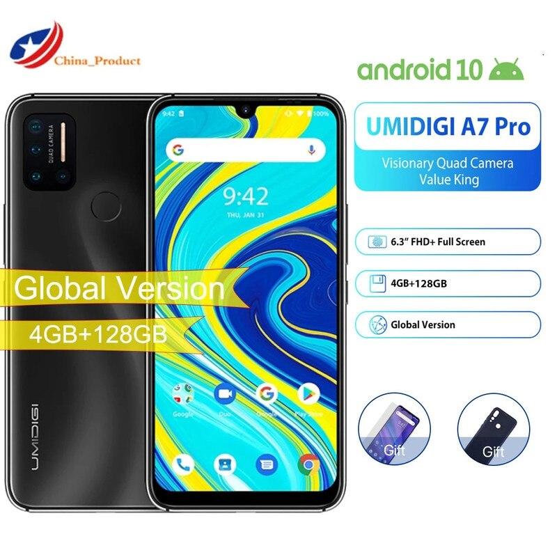Глобальная версия UMIDIGI A7 Pro смартфон 4 Гб 128 Helio P23 Octa Core 4150 мАч отпечатков пальцев Andriod 10 Dual Core 4G 6,3 дюйм мобильный телефон