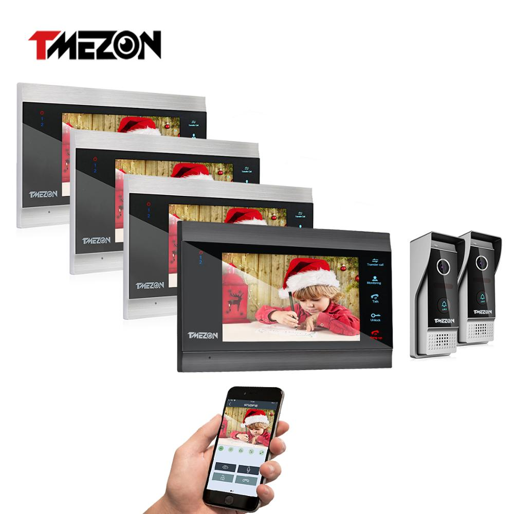 TMEZON 7 Inch Wireless Wifi Smart IP Video Door Phone Intercom System with 4 Night Vision Monitor + 2 Rainproof Doorbell Camera