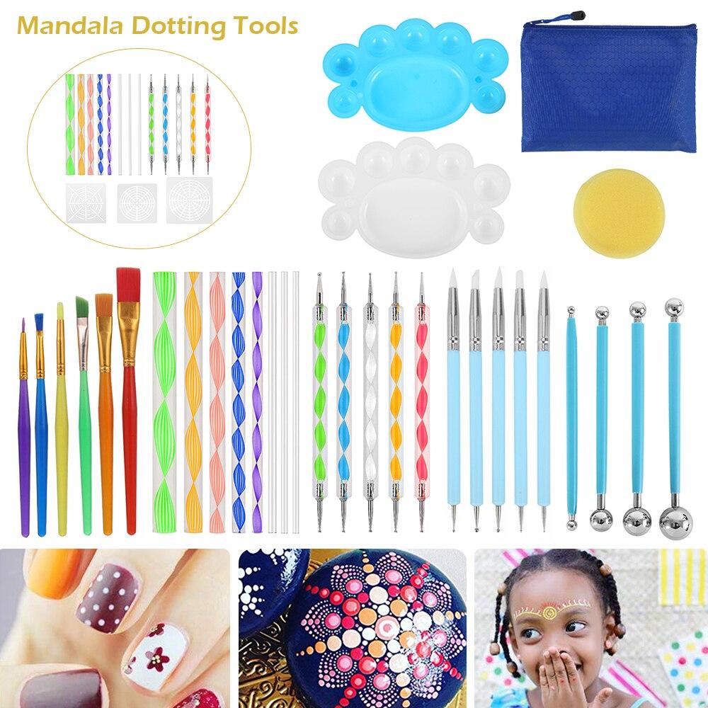 16/27pcs Mandala Dotting Tools for Painting Rock Stone Pen Stencil Template Brush Tray Kit Mandala Stencil Ball Stylus Paint Set