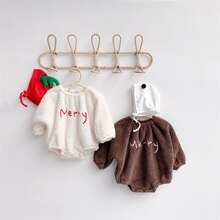 Winter Baby Bodysuit Newborn Fleece Warm Jumpsuit Soft Cute Letter Print Christmas Bodysuits for Inf