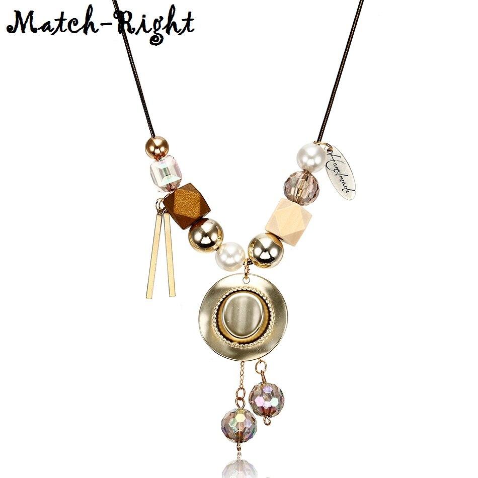 Женская Ковбойская шляпа ожерелье для женщин хрустальные бусы ожерелья и серьги-подвески из бисера массивное ожерелье новые ювелирные изделия для подарков NR073