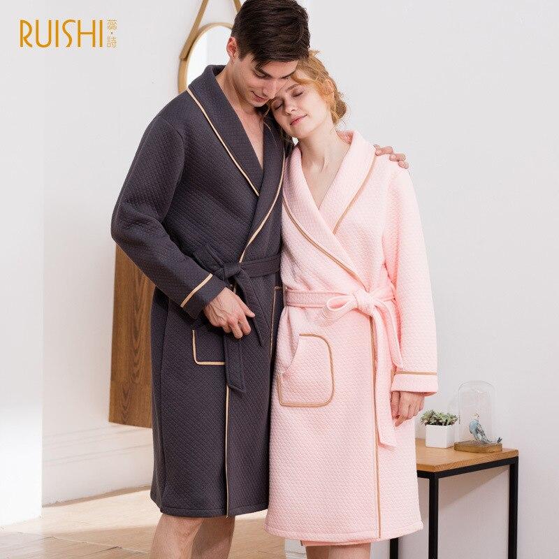 Bata de baño a la moda para parejas, bata de algodón cálida para invierno para parejas, bata de baño para hombre y mujer, abrigo para casa de manga larga, Kimono de algodón con cinturón